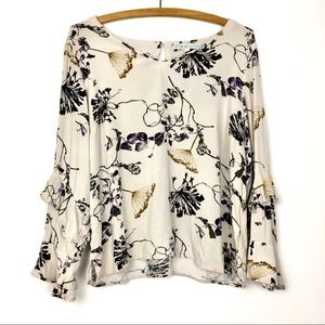 Floral Ruffle Sleeve Blouse